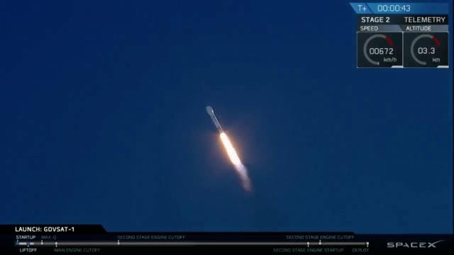A SpaceX Falcon 9 rocket blasts off from Cape Canaveral Air Force Station with the GovSat-1 communications satellite on Wednesday, Jan. 31, 2018.