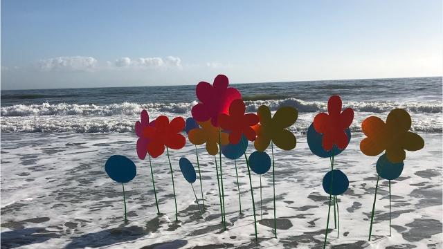 """He's ba-a-a-ack! Those colorful blooms popping up around Cocoa Beach this week are the work of artist David Cook of Minnesota - better known nationwide as """"The Flower Bomber.""""Video by Britt Kennerly, FLORIDA TODAY"""