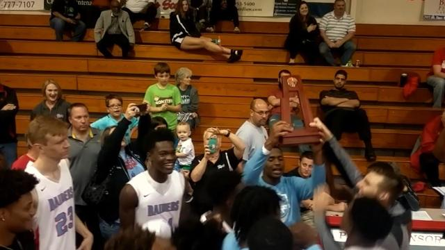 Rockledge boys basketball defeated the Satellite Scorpions, 68-49, for the District 14-6A trophy. Video by Eric Rogers. Uploaded Feb. 16, 2018.