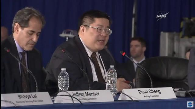 Dean Cheng of the Heritage Foundation speaks on China's advances and strategies in space during the National Space Council's second meeting at Kennedy Space Center on Wednesday, Feb. 21, 2018.