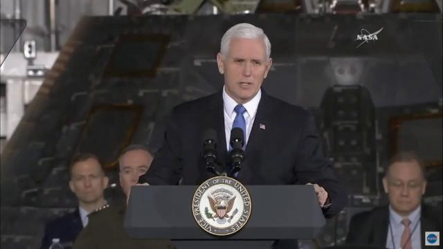 Vice President Mike Pence speaks during the National Space Council's second meeting at Kennedy Space Center on Wednesday, Feb. 21, 2018.