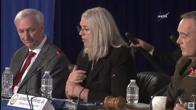 Susan Gordon, principal deputy director for national intelligence, speaks on national security in space during the National Space Council's second meeting at Kennedy Space Center on Wednesday, Feb. 21, 2018.