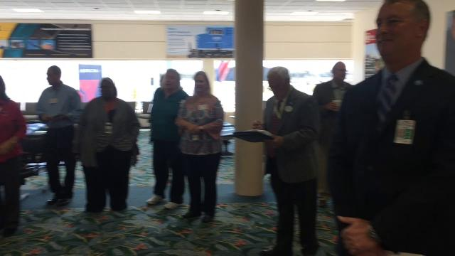 The Orlando Melbourne International Airport now has a Dunkin Donuts that officially opened Wednesday morning. Video by Malcolm Denemark