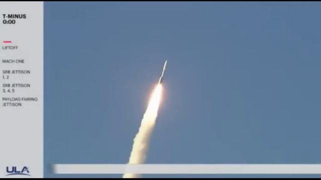 An Atlas V rocket carrying multiple payloads for the Air Force lifted off from Cape Canaveral at 7:13 p.m. Saturday.