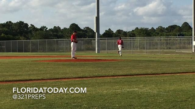Brevard Heat senior Austin Thurman plays center field, pitches and plays first base. Video by Brian McCallum. Posted April 18, 2018.