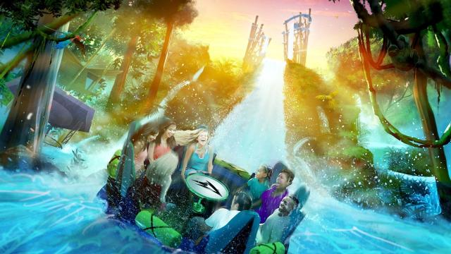 Infinity Falls at SeaWorld Orlando features roaring rapids & a record-setting 40-foot waterfall drop, all against the backdrop of a rainforest utopia. Video courtesy of SeaWorld Orlando.