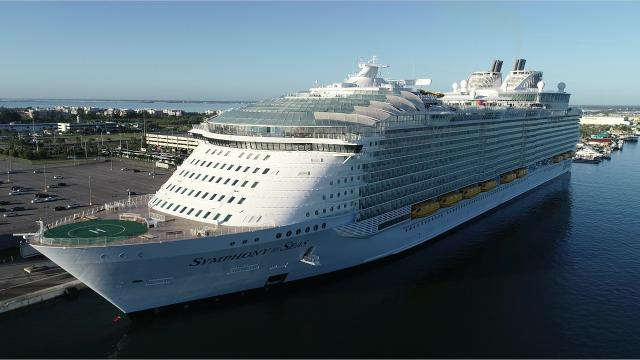 Royal Caribbean's Symphony of the Seas, the world's largest cruise ship, made its US debut at Port Canaveral, stopping there for one day before sailing to his home port in Miami. Video posted Nov. 8, 2018. Footage courtesy of Canaveral Port Authority