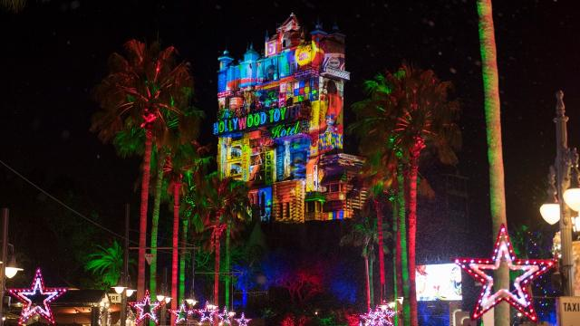 Sunset Seasons Greeting at Disney's Hollywood Studios is a technicolor celebration of the holidays. It runs through Jan. 6, 2019.