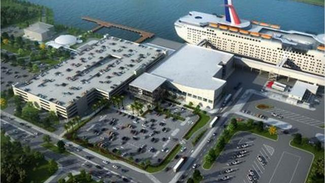 Waterside construction at Port Canaveral's new Cruise Terminal 3 began in November 2018 with the arrival of 261 steel pipes that are 110.5 feet to 126 feet long. The $150 million project should be done by June 2020. Photos, video by Canaveral Port Authority. Video by Jennifer Sangalang, FLORIDA TODAY.