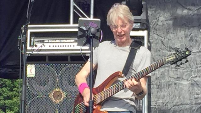 Grateful Dead co-founder and Grahame Lesh, leader of the band Midnight North, share a few moments during the Lake Champlain Maritime Festival