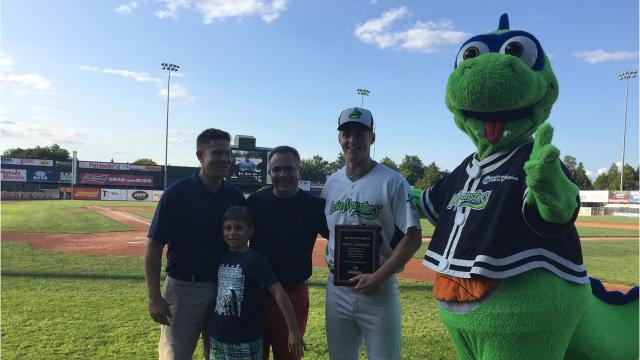 Kevin Merrell has been named the winner of the 22nd annual Tom Racine Award, an honor voted on by the fans of the Vermont Lake Monsters.