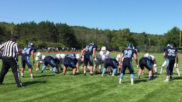 The Mount Mansfield Union High School football team defeated Rice 34-14 in Saturday's season-opener for both teams.