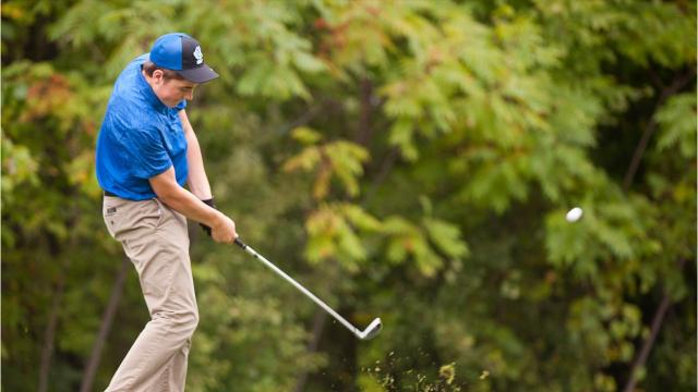 Essex, South Burlington, Colchester and Burlington compete in high school golf action at Links at Lang Farm in Essex on Sept. 6, 2017.