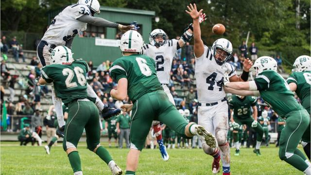 Video and images from Saturday's high school football rivalry game between Rice and Burlington. The Seahorses won 19-14.