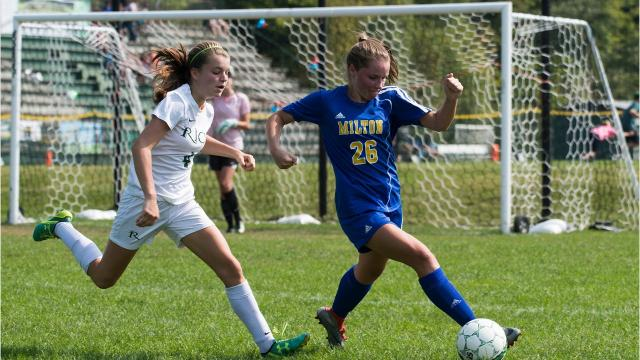 Milton seize the win over Rice in high school girls soccer action Saturday. Both teams are among the top contenders in Diivsion II.