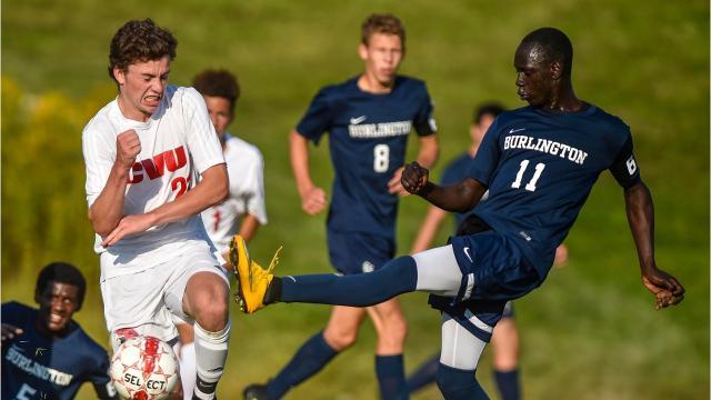 The Champlain Valley Union High School boys soccer team hosted Burlington in Hinesburg on Monday, September 18, 2017.