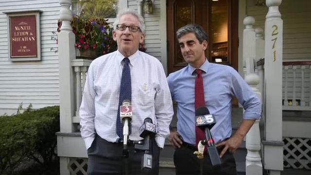 Mediator Ira Lobel, left, with Burlington Mayor Miro Weinberger, announces there is no deal yet as mediated negotiations resume between the Burlington School Board and the teachers union in Burlington on Tuesday, September 19,