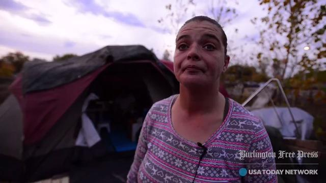 Nick Walls and Ashley Baker, seen on Monday Oct. 23, 2017, have established a new encampment a few feet from the site that city officials shut down five days earlier.