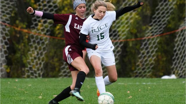 The Rice Memorial High School girls soccer team captured a 4-0 triumph over Mount Abraham in the Division II semifinals Wednesday. (Photos by Brian Jenkins, for the Free Press).