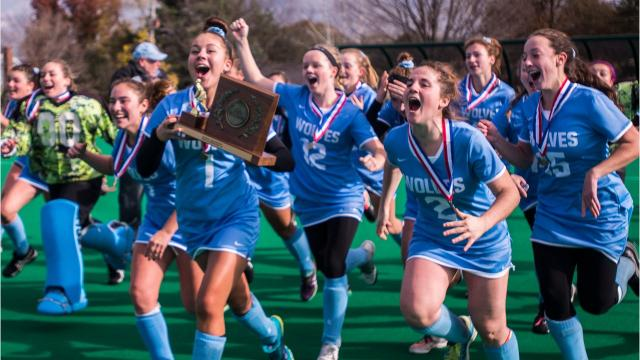 The South Burlington field hockey teams dominated Saturday's game, winning the Vermont division 1 state championship for the third year in a row, fittingly dedeating CVU, 3-0.