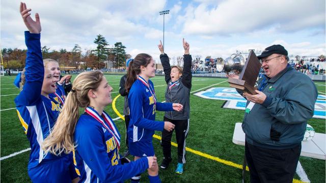 Milton vs. Rice Memorial D2 girls state soccer championship in South Burlington on Saturday, November 4, 2017.