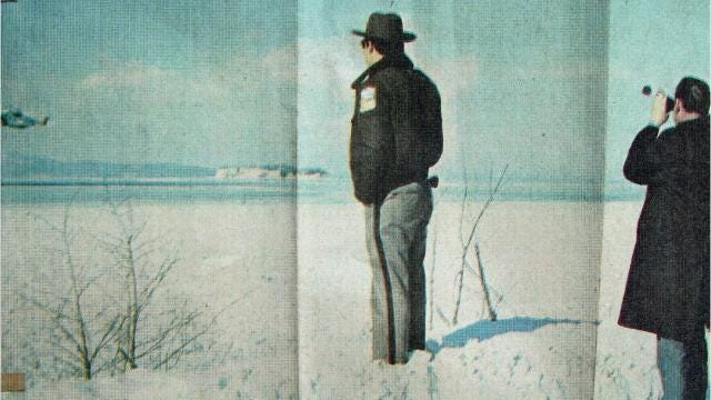Corporate jet vanished over Lake Champlain near Shelburne Point on a frigid January night in 1971. Complete wreckage was never found.