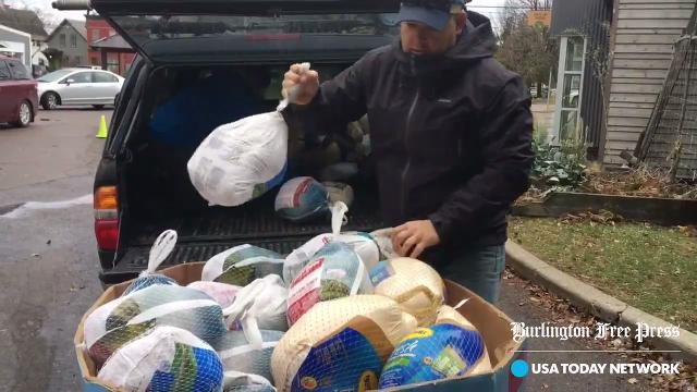 """Queen City Saints"" partnered with Bluebird BBQ and other community organizations to collect 615 turkeys to donate to the Chittenden Emergency Food Shelf on Sunday, Nov. 19, 2017."