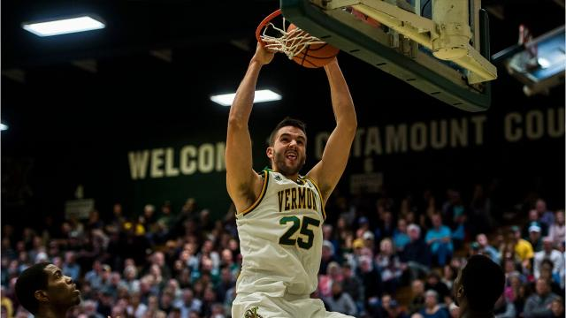 The University of Vermont men's basketball team hosted the University of Maine Fort Kent Wednesday night at Patrick Gym, dominating the non-conference game and winning 90-54.