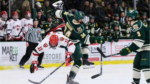UVM plays host to St. Lawrence in the Catamount Cup, the second game of Friday's doubleheader at Gutterson Fieldhouse. Images by Brian Jenkins.