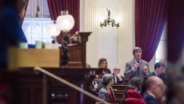 The Vermont Senate passed a bill legalizing marijuana at the Statehouse in Montpelier on Wednesday, January 11, 2018.  The House of Representatives passed the bill last week