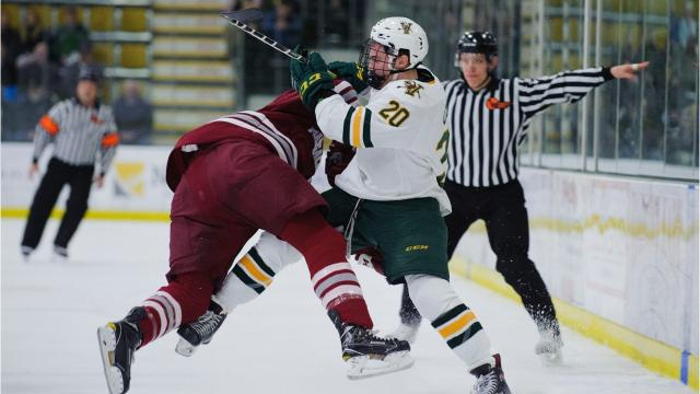 Vermont salvages a 2-2 draw with Massachusetts in Hockey East action at Gutterson Fieldhouse on Friday, Jan. 12, 2018. (Photos by Brian Jenkins/For the Free Press)