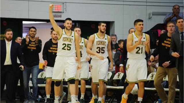 The University of Vermont men's basketball team wins its fifth straight game -- and its 18th straight home game -- by cruising past Stony Brook 73-62 at Patrick Gym on Saturday, Jan. 13, 2018. (Photos by Brian Jenkins/For the Free Press)