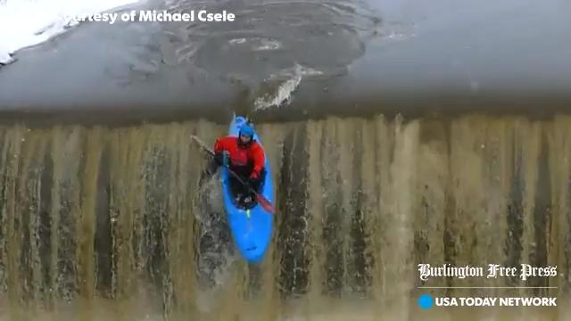 What do you do when it's about 10 degrees outside? For Jordan Vickers and Benjamin Schott, you grab your kayak and paddle off a dam on the Browns River in Jericho. Their exploits were captured by Michael Csele on Saturday, Jan. 13, 2018.