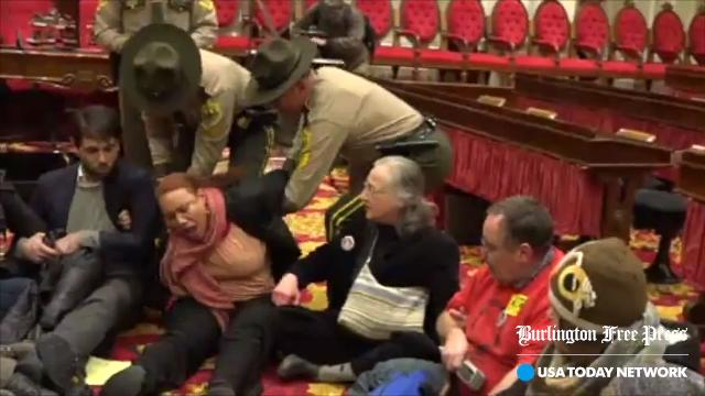 Shela Linton filed a civil rights violation complaint against the Vermont State Police seeking money and an apology. Linton was one of 29 demonstrators arrested during a sit-in at then Gov. Peter Shumlin's inaugural address in 2015.