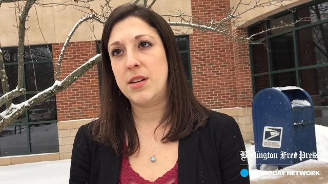 Rachel Feldman, a spokeswoman for Vermont State Employees Credit Union, speaks on Jan. 17, 2018 about a robbery that happened the day before. The suspect was later shot by police.