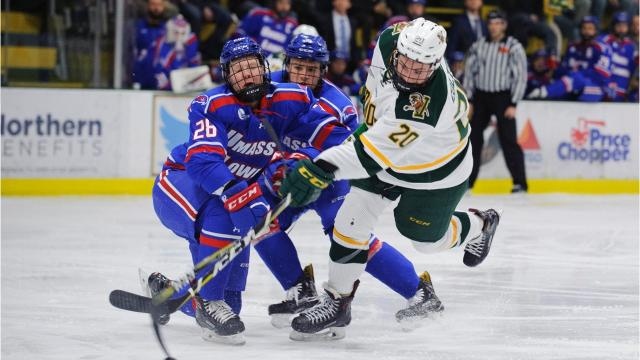 The Catamounts blew a 2-0 lead and lost 3-2 in overtime to UMass-Lowell at Gutterson Fieldhouse on Friday night. Photos by Brian Jenkins/for the Free Press