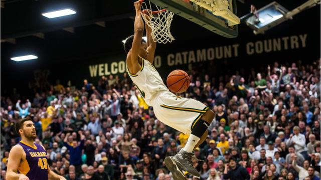 The University of Vermont men's basketball team pulled ahead early against Albany on Wednesday night, Jan. 24, 2018, at home, but Albany answered back. But as the game went on, UVM pulled ahead and stayed there, winning 61-50.