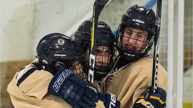 The Essex boy's hockey team scored early and often, dominating U32 to win at home on Thursday night, Feb. 1, 2018, 10-1.