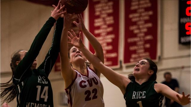 The CVU girls basketball team fought for the lead all night against Rice, but would pull ahead and stay there late in the game for the win, 59-50.
