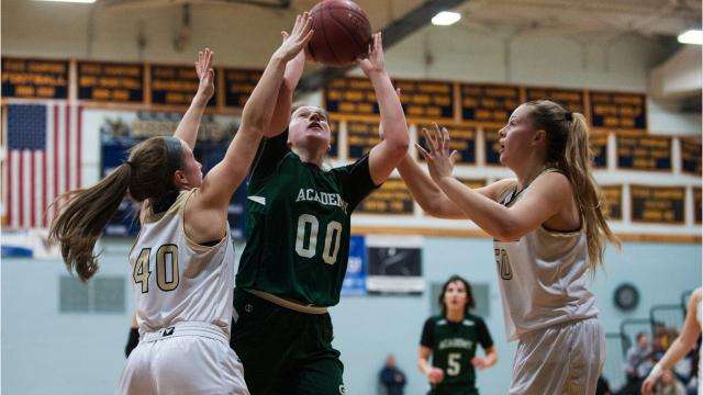 St. Johnsbury pulled away to defeat Essex 57-40 in high school girls basketball action Monday night. Photos by Brian Jenkins.