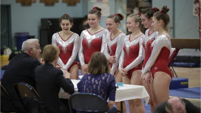 CVU won the gymnastics state crown Saturday, halting Essex's 12-year reign. Photos by Shawn Cimonetti.