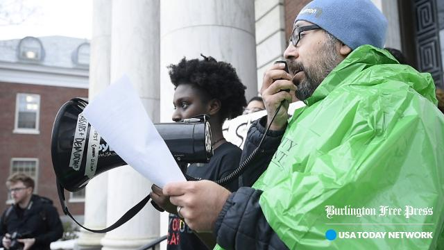 John Mejia, a staff member at the University of Vermont, speaks to a rally organized by NoNames for Justice at UVM in Burlington on Tuesday, February 21, 2018.  Mejia is hunger striking until his demands concerning issues of racial justice are met.