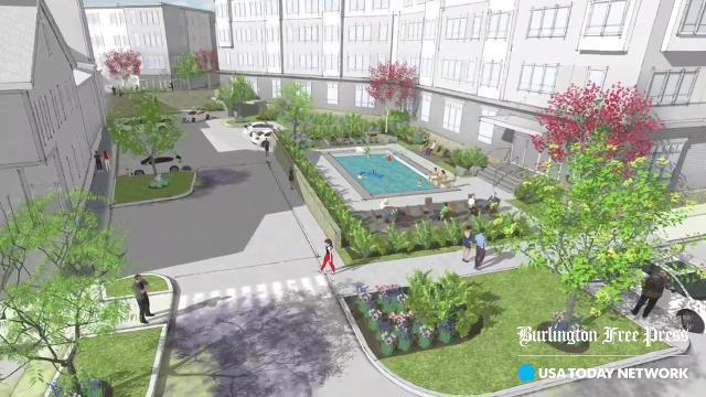 Two local developers propose in 2018 a cluster of four-story buildings near Five Corners that they say will further goals for a more walkable, transit-friendly Village Center. Published Feb. 21, 2018.