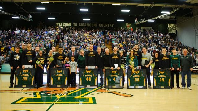 The Catamounts clinched the America East regular-season title on Senior Night on Wednesday. Photos by Brian Jenkins.