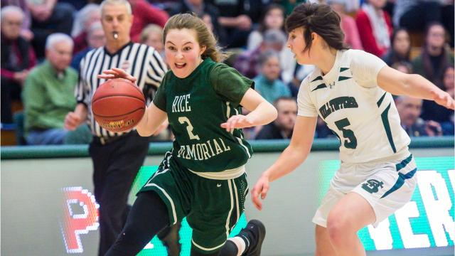 St. Johnsbury advanced to the DI girls basketball state championship game by beating Rice Memorial in Burlington on Wednesday, March 7, 2018.