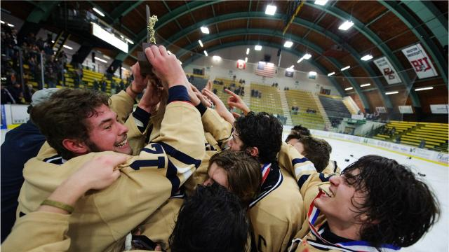 The Essex boys hockey team won the Div. 1 state championship Monday night, March 19, 2018, beating out Spaulding,