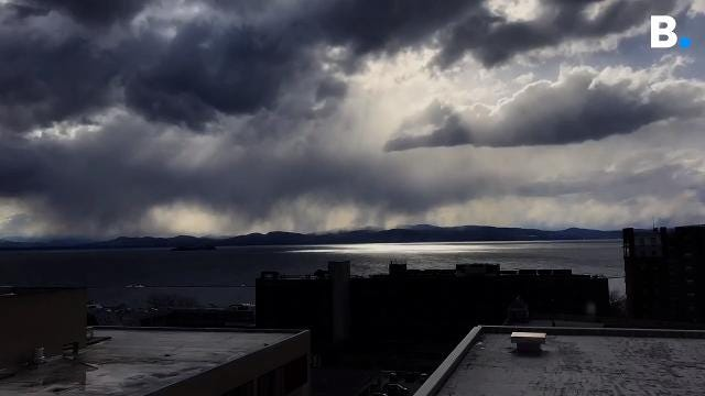 Seen in this time lapse, a gusty weather blast made for a beautiful show over Lake Champlain, seen from the Burlington Free Press offices on Wednesday, April 4, 2017.