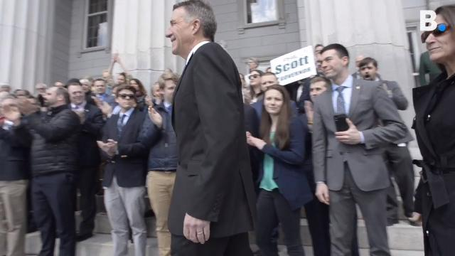 Vermont Governor Phil Scott signed three bills on the steps of the Statehouse in Montpelier on Wednesday, April 11, 2018,  that limit some aspects of gun possession and empowers authorities to remove guns from people who may be dangerous.