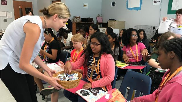 Mentoring program pairs female leaders and six grade girls for lessons in leadership and character development.