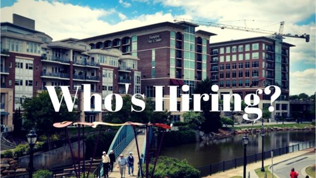 See who is hiring in the Upstate region, for July 31-August 6.